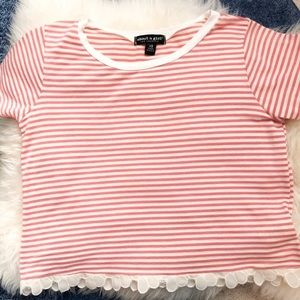 About A Girl Tops - Floral Trim Striped Crop Top • Size XS